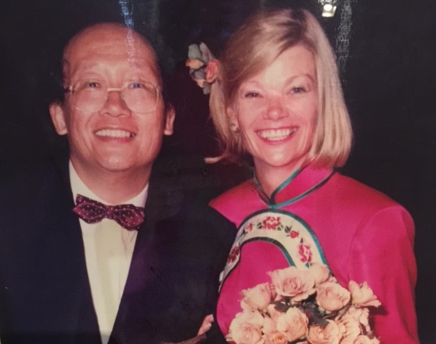 Ken Wang with wife Sally Bellmaine  on their wedding day, January 3, 1991